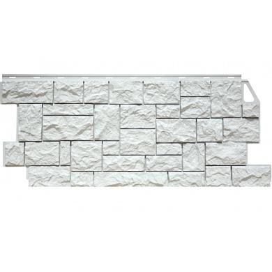 Цокольный сайдинг FineBer Камень Дикий (Мелованный белый) 1117x463